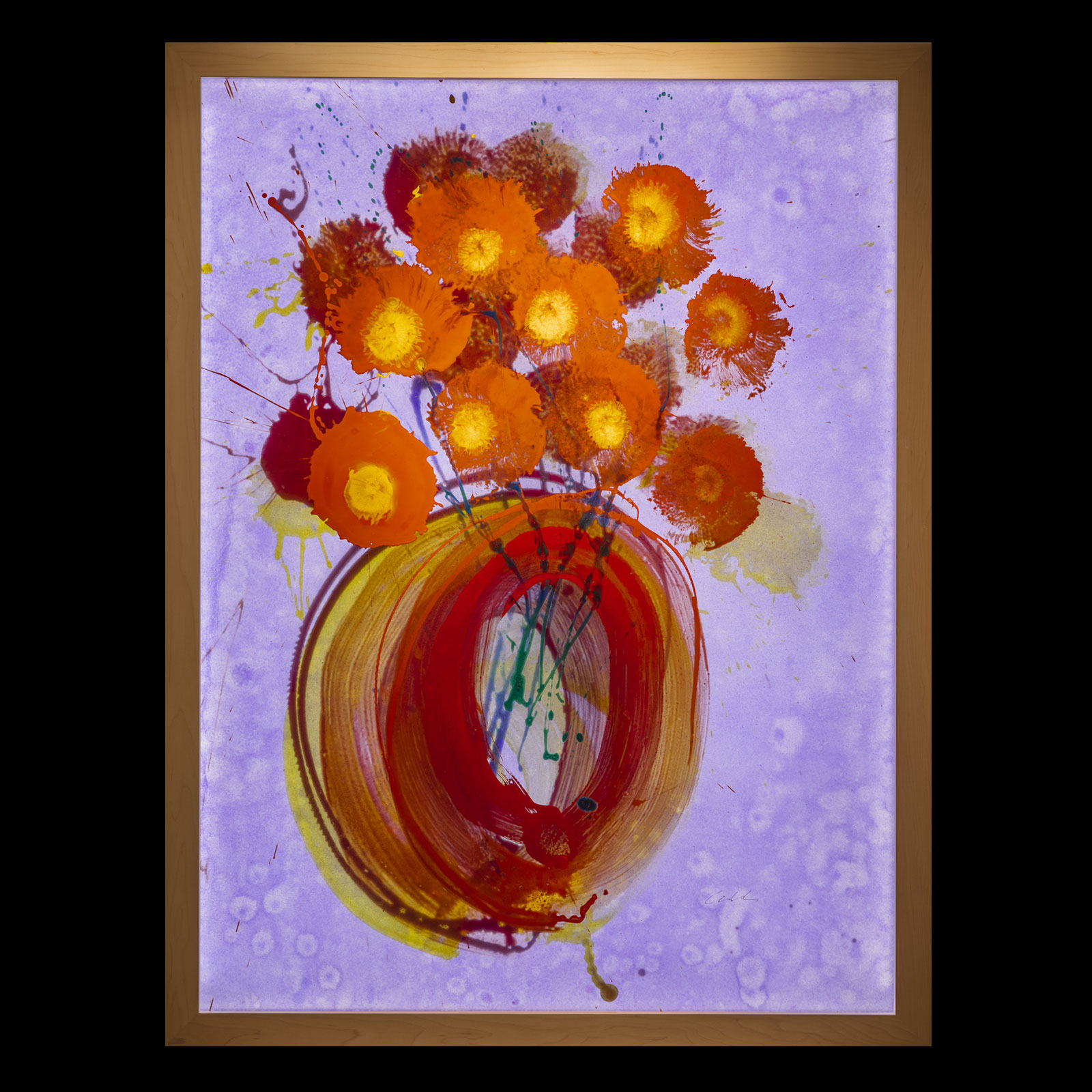Ikebana Glass on Glass Painting
